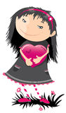 Emo-girl. The smiling  emo-girl with the darned heart Stock Photo