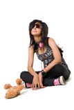 Emo girl. Beautiful emo girl with teddy bear isolated on white royalty free stock photos