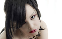 Emo girl. Portrait of emo girl closeup beauty face royalty free stock photos