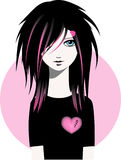 Emo girl vector illustration