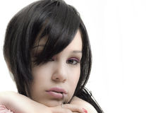 Emo girl. Portrait of emo girl closeup beauty face stock image