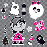 Emo Girl. Funny Cute character and icons of a emo girl Stock Images