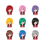 Emo girl - 9 different hair colors. ( flat colors Royalty Free Stock Photo
