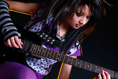 Emo girl and electro guitar Stock Photography