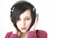 Emo girl in head phones Stock Image