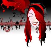 Emo girl listening music Royalty Free Stock Photo