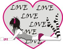Emo girl in love. Illustration of girl in love heart Royalty Free Stock Images
