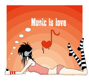 Emo girl, music is love. Illustration of emo girl with love to music Stock Photo