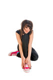 Emo girl sitting on white Royalty Free Stock Photography