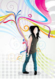 Emo girl  vector illustration Stock Photos