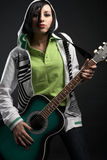 Emo Girl With Guitar Royalty Free Stock Photos