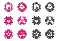 Emo Icon Set. Emo symbols, icons in pink and gray colors Stock Photos