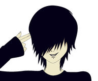 Emo kid with finger gun. A young emo kid with hand shaped like a gun Royalty Free Stock Photography