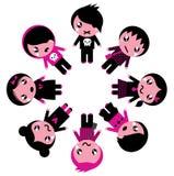 Emo kids circle. Cute retro emo kids group. Vector Illustration Royalty Free Stock Photography