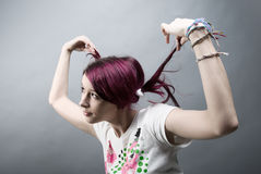 Emo look   girl with red hai Royalty Free Stock Photo