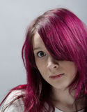 Emo look   girl with red hai Stock Photography