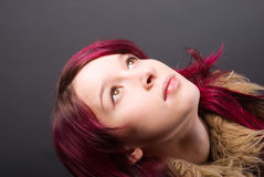 Emo look   girl with red hair Royalty Free Stock Images