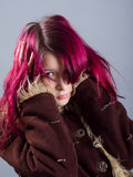 Emo look girl with red hair stock photos