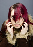 Emo look   girl with red hair Royalty Free Stock Image