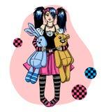 Emo Mädchen mit Spielwaren Stockfoto