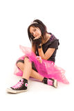 Emo princess. Beautiful emo girl isolated on white background royalty free stock photo