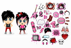Emo stickers pack Stock Photo