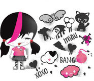 Emo stickers pack Stock Images