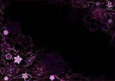 Emo stileerde zwart-en-violette bloemenbackg Stock Afbeelding