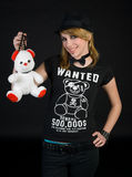 EMO teen girl with teddy bear. Emo teen girl in black with teddy bear Stock Images