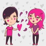 Emo teens. In love - cartoon vector illustration Royalty Free Stock Image