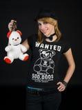 EMO tienermeisje met teddybeer Stock Afbeeldingen