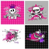 Emo vector banners, suitable for t-shirt print Stock Images