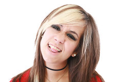 Emo young girl showing her tongue Stock Photo