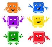 EmoBots. Set of six original emoticons Emobots Stock Photo