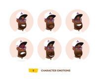 Emoción de los avatares de los caracteres en el círculo stock de ilustración