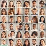 Emoción del collage de la gente fotos de archivo