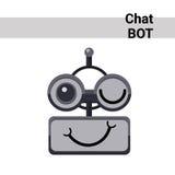 Emoción linda sonriente Wink Chat Bot Icon de la cara del robot de la historieta Fotografía de archivo