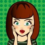 emoción Mujer rubia sorprendida Imágenes de archivo libres de regalías