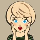 emoción Mujer rubia sorprendida Expresión, mirada y palabra Foto de archivo libre de regalías