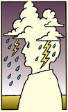 Emoción o dolor de cabeza humana Fotografía de archivo libre de regalías
