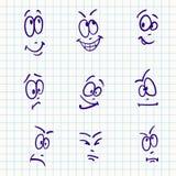 Emoción, sistema del vector de la cara nueve stock de ilustración