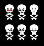 Emoci czaszka Ustawia wyrażenia avatar kośca ilustracji