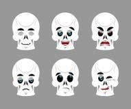 Emoci czaszka Ustawia wyrażenia avatar kośca Bóg i diabeł d ilustracja wektor