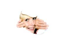 emoci dziewczyny spojrzeń papier drzejący Zdjęcia Royalty Free