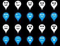 Emoci mapy markiera ikony Obrazy Stock