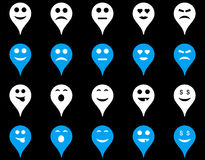 Emoci mapy markiera ikony Obrazy Royalty Free