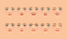 Emoci twarzy set ilustracji