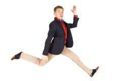 Emocionado feliz de salto del hombre Foto de archivo libre de regalías