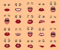 Emociones cómicas Expresiones faciales de las mujeres, gestos, decepción del éxtasis de la tristeza del repugnancia de la sorpres Ilustración del Vector
