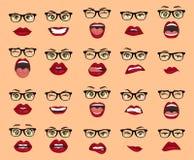 Emociones cómicas Mujer con las expresiones faciales de los vidrios, gestos, éxtasis de la tristeza del repugnancia de la sorpres Libre Illustration